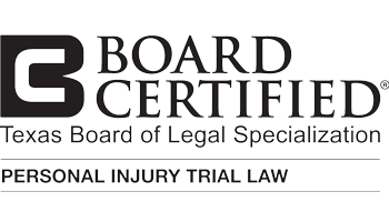 Board Certified in Personal Injury Trial Law by the Texas Board of Legal Specialization